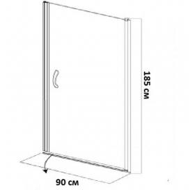 Душевая дверь EGER 90 (599-150-90(h)), хром профиль, стекло,распашные