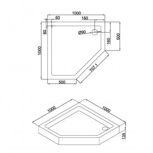 Душевой поддон пятиугольный акриловый с сифоном Eger A LÁNY 90x90x13.5, 599-552/2