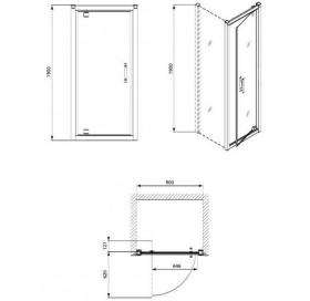 Душевые двери  KOLO GEO 6 90 bifold стекло PRISMATIC GDRB90205003