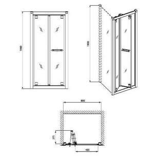 Душевые двери KOLO GEO 6 80 bifold стекло PRISMATIC, GDRB80205003