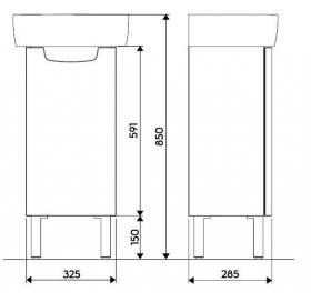 Шкафчик под умывальник Kolo REKORD 31 х 59,1 х 26,2 см, белый глянец, 89541000