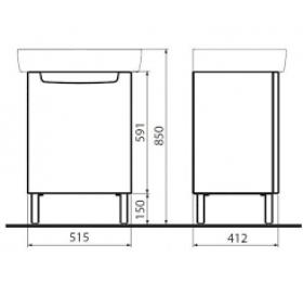 Шкафчик под умывальник Kolo REKORD 50 х 59,1 х 38,5 см, белый глянец, 89545000