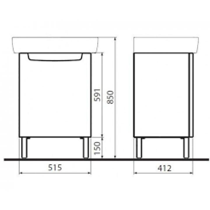 Шкафчик под умывальник Kolo REKORD 50 х 59,1 х 38,5 см, венге, 89546000