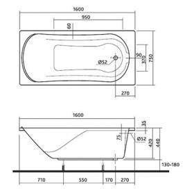 Ванна Kolo COMFORT 160 Х 75 прямоугольная, с ножками SN7, XWP3060000