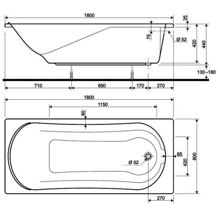 Ванна акриловая KOLO COMFORT 180x80 XWP3080000 + ножки SN7