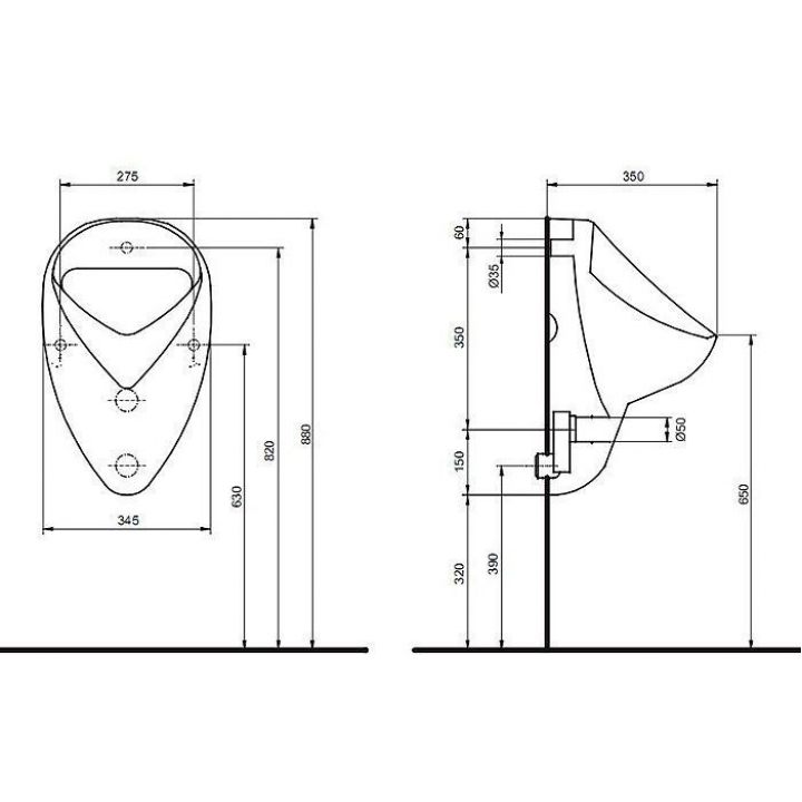 Писсуар Kolo FELIX / NOVA задний подвод, горизонтальный выпуск