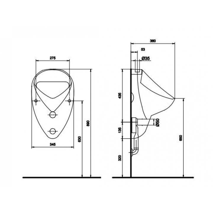 Писсуар Kolo FELIX / NOVA верхний подвод, горизонтальный/вертикальный выпуск