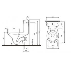 Унитаз-компакт IDOL с сиденьем из полипропилена (горизонтальный выпуск), UA
