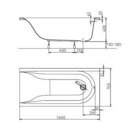 Ванна акриловая KOLO Mirra 170 XWP3370001 с подголовником + ножки SN0