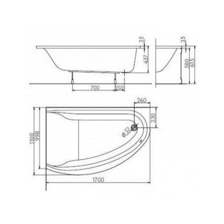 Ванна акриловая KOLO Mirra 170 XWA3371001 с подголовником левосторонняя + ножки SN8