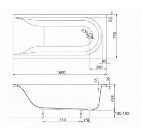 Ванна акриловая KOLO MIRRA XWP3360000 160 + ножки SN0
