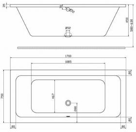 Ванна акриловая Kolo Modo 170х75 + ножки SN7 XWP1171000