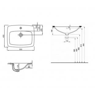 Раковина Kolo NOVA PRO 60 см, на столешницу, с отверстием и переливом, M31861000