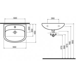 Раковина мебельная Kolo NOVA 55 см, с отверстием, 2195500U