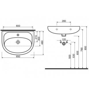 Раковина мебельная Kolo NOVA 65 см, с отверстием, 2196500U