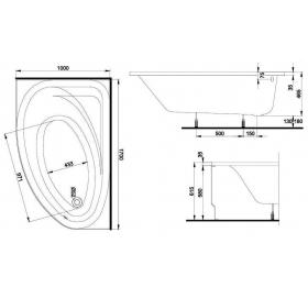 SPRING ванна 170x100 асимметричная левая в комплекте с сифоном Geberit 150.520.21.1, с ножками