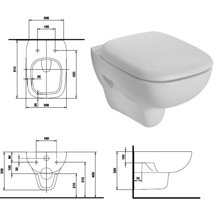 Чаша подвесного унитаза Kolo STYLE с покрытием Reflex