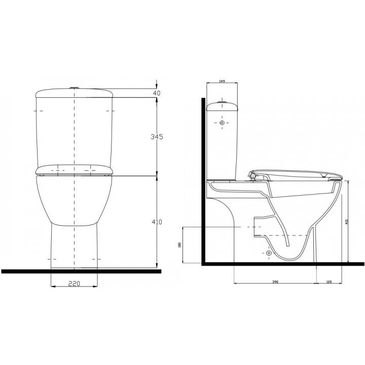 Унитаз-компакт Kolo STYLE без сиденья (универсальный выпуск, 3/6 л) c покрытием Reflex