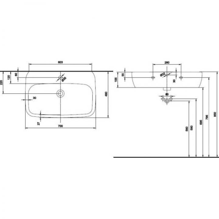 Раковина Kolo STYLE 70 см с отверстием, с покрытием Reflex