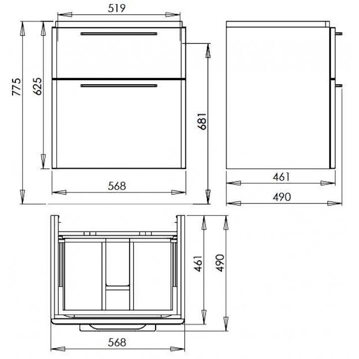 Тумба для раковины Kolo TRAFFIC 56,8x62,5 см, белый глянец