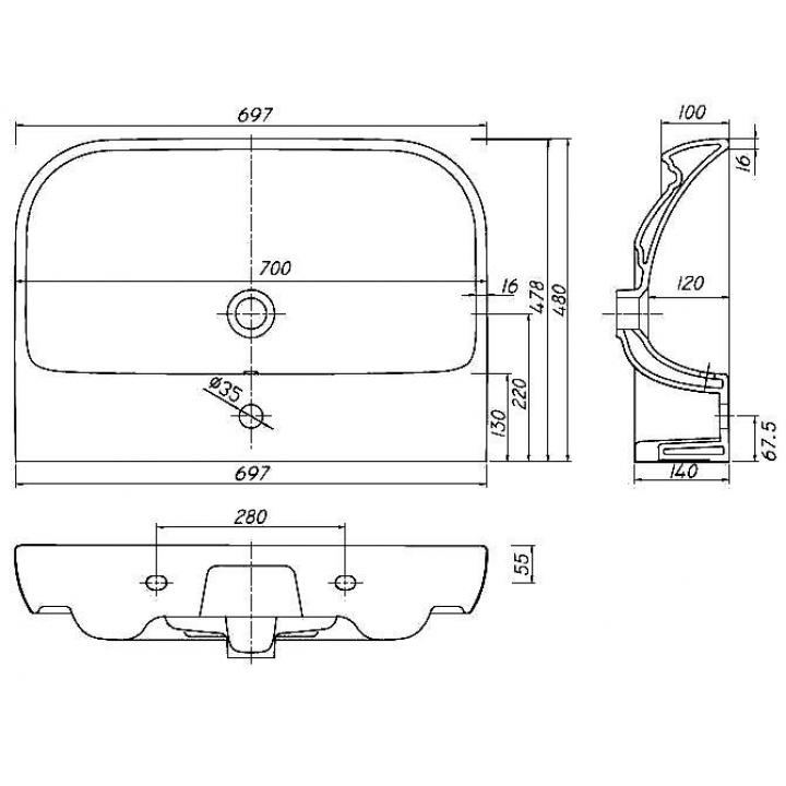 Раковина мебельная Kolo TRAFFIC 70 см, с отверстием, L91170000
