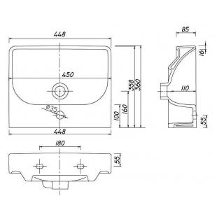 Раковина мебельная Kolo TRAFFIC 45 см, с отверстием, L92145000