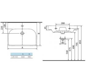 Раковина мебельная Kolo TRAFFIC 60 см, с отверстием, L91161000