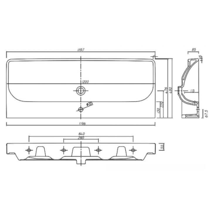 Раковина мебельная Kolo TRAFFIC 120 см, с двумя отверстиями и покрытием Reflex, L91520900