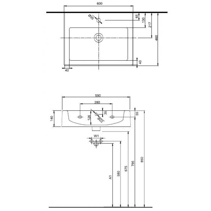 Раковина Kolo TWINS 60 СМ с отверстием, прямоугольная внутренность