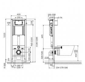 Инсталляционная система АКВА 22 QF для унитаза, без кнопки S97-048