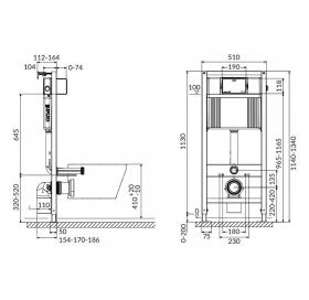 Инсталляционная система АКВА 52 QF для унитаза, без кнопки S97-062