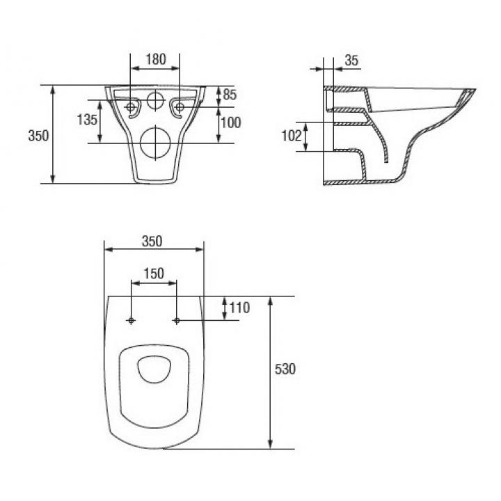 Чаша подвесного унитаза Cersanit Carina K31-002