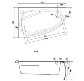 Ванна Cersanit JOANNA NEW 150 X 95 асимметричная Левая S301-168