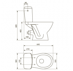 Унитаз-компакт Cersanit KORAL NEW 3/6 л, с сиденьем из полипропилена K100-206