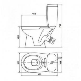 Унитаз-компакт Cersanit KORAL NEW  031 косой 3/6 л, с сиденьем из полипропилена K100-340