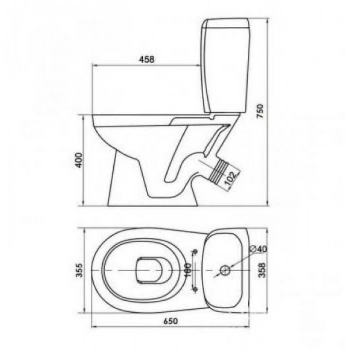 Унитаз-компакт Cersanit KORAL NEW 3/6 л, с сиденьем из полипропилена K100-340
