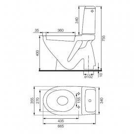 Унитаз-компакт Cersanit MITO GREY, Stop, горизонтальный выпуск + сиденье полипропилен