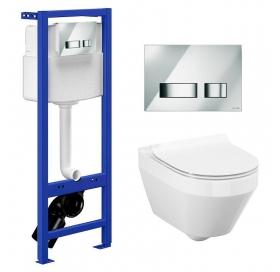 Комплект: Инсталляционная система Cersanit Hi-Tec с кнопкой, подвесным унитазом Crea CleanOn и сиден