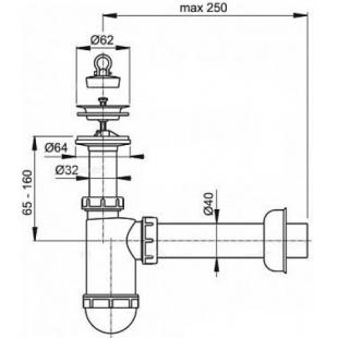 Сифон для умывальника D40 с гибким соединением A41+A71