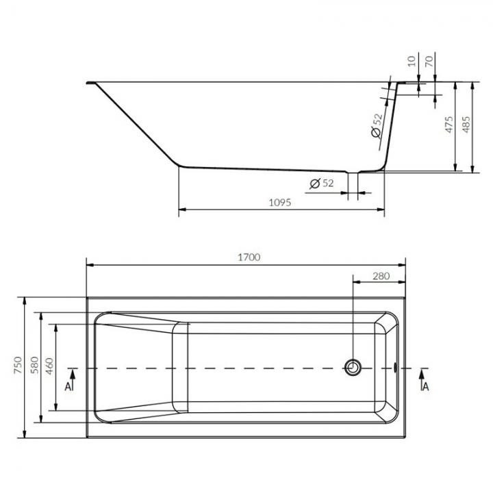Ванна Cersanit CREA 170x75 (S301-226) + ножки (Тип 1)