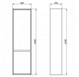 Пенал Cersanit CREA 40/25 (S924-025) Серый матовый