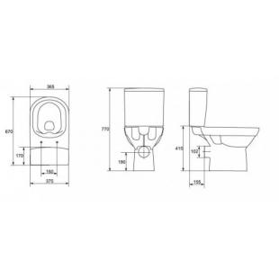 Унитаз-компакт Cersanit  CITY CLEAN ON  011, 3/5 л, горизонтальный выпуск (дюропласт, микролифт)) K3