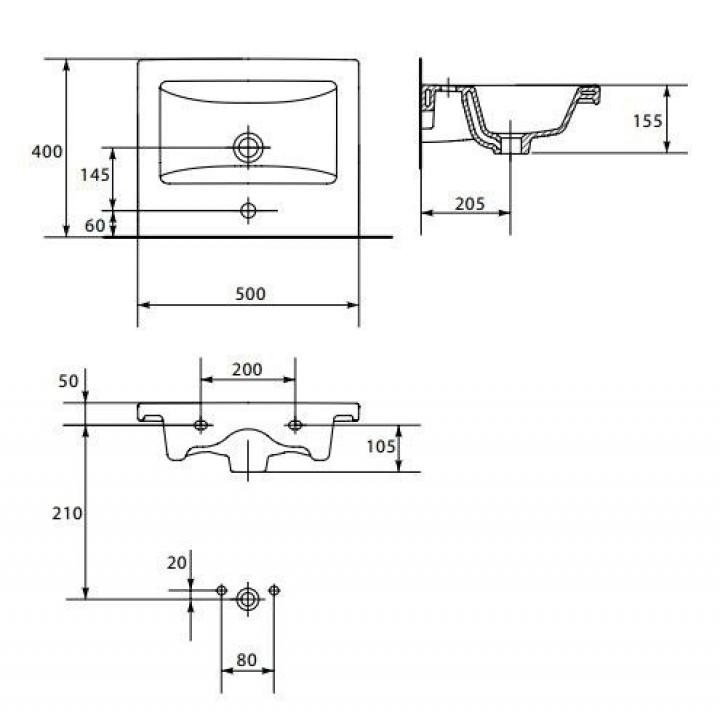 Мебельная раковина Cersanit COMO 50 K32-009