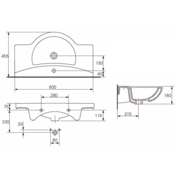 Мебельная раковина Cersanit LIBRA 80 K04-012