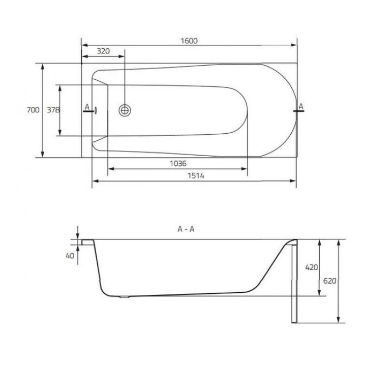 Ванна Cersanit FLAVIA 160 x 70 прямоугольная S301-106