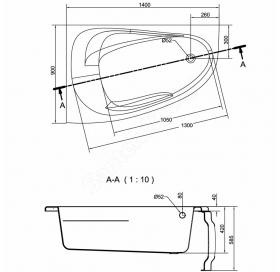 Ванна Cersanit JOANNA  NEW 140 X 90 асимметричная Левая S301-166