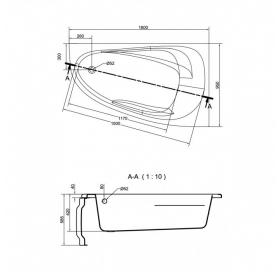 Ванна Cersanit JOANNA  NEW 160 X 95 асимметричная правая S301-170