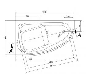 Ванна Cersanit JOANNA  NEW 160 X 95 асимметричная Левая S301-169