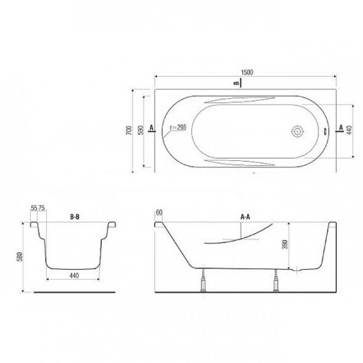 Ванна Cersanit MITO 160 x 70 прямоугольная