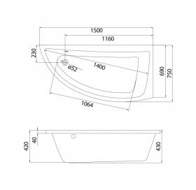 Ванна Cersanit NANO 150 X 75 асимметричная правая S301-063